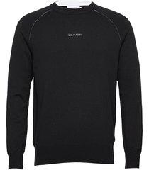 lycra blend sweater stickad tröja m. rund krage svart calvin klein