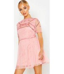 embellished top skater dress, pink