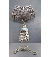 us seller-jewelry scarf necklace skull cross bone pendant slider scarf ring