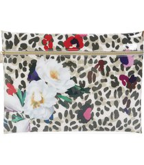 ted baker london augesta wilderness zip pouch, size one size - ivory