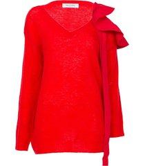 red ruffle sweater