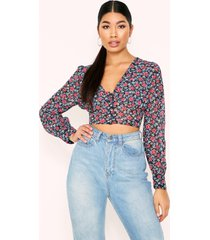 floral button front puff sleeve top, navy