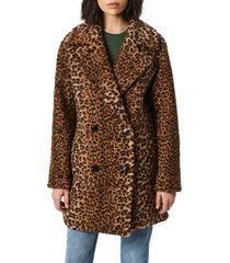 bernardo animal print double breasted boucle coat, size x-small in brown leopard at nordstrom