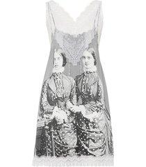 lace detail victorian portrait print silk slip dress grey
