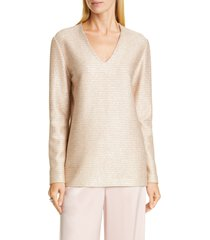 women's st. john evening sequin metallic knit tunic