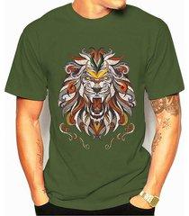 camiseta de algodón de verano para hombre soft con estampado gráfico de león animal