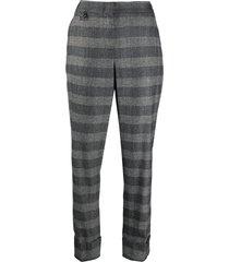 lorena antoniazzi fine knit check patterned trousers - grey