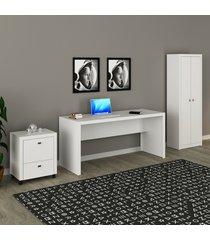 conjunto de escritório com mesa, armário alto e gaveteiro 03 branco dallas - tricae