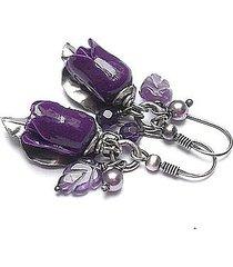 róże /purple/ - kolczyki