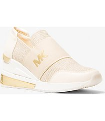 mk sneaker felix extreme in mesh metallico con glitter - champagne (naturale) - michael kors
