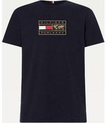 tommy hilfiger men's big and tall icon organic cotton badge t-shirt desert sky - 2xl