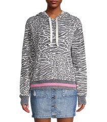 vintage havana women's animal-print hoodie - ivory grey - size s