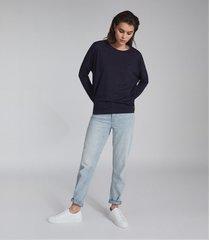 reiss coraline - fine jersey long sleeved t-shirt in blue melange, womens, size xl