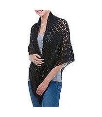 100% alpaca shawl, 'versatile black' (peru)