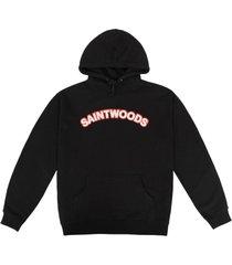black chenille patch hoodie, black