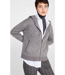 cárdigan con capucha y lana gris esprit