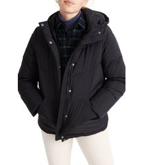 women's madewell quilted water resistant puffer parka, size small - black