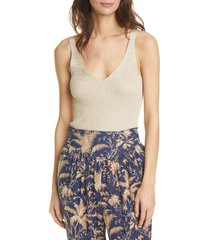 rebecca taylor sparkle ribbed knit tank, size x-large in gold at nordstrom
