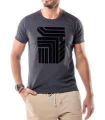 camiseta estampa flocada geométrico no stress mescla escuro - kanui