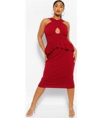 midi-jurk met uitgesneden schootje en ruches, wijn