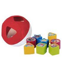 bola de formas pura diversão mundo bita 8 peças branco/vermelho