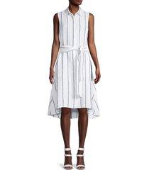 saks fifth avenue women's high-low belted shirtdress - lottie stripe - size l