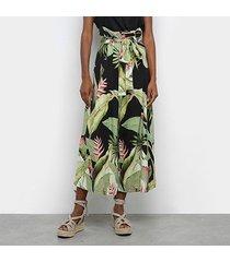 calça pantalona farm jardim bananeira amarração feminina