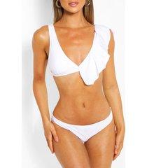 driehoekige bikini met ruches, wit