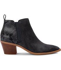 sue snakeskin-print & suede heeled ankle booties