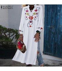 vestido bohemio con mangas largas zanzea para mujer-blanco