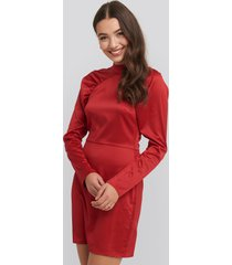 na-kd party high neck gathered sleeve dress - red