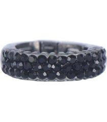 anel armazem rr bijoux cristais pretos grafite - kanui