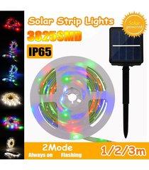 media / 3m ip65 3825smd modos impermeable led de cadena tira de la luz de la lámpara fairy + panel de batería solar - ejercito verde