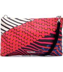 bolsa tiracolo desigual geométrica vermelha/branca - kanui