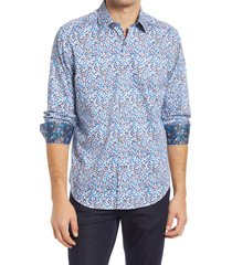men's robert graham ludwig geo print stretch button-up shirt, size small - white