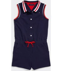 tommy hilfiger girl's adaptive stripe romper evening blue - 7
