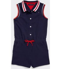 tommy hilfiger girl's adaptive stripe romper navy - 16