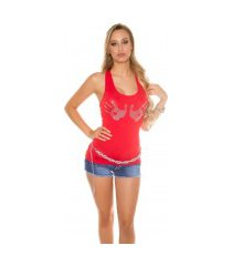 sexy tanktop met glitter-hand-patches rood