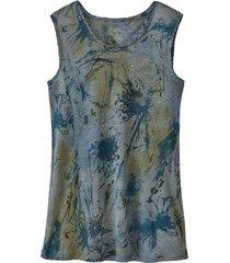 linnen-jersey top met batikprint, rookblauw-batik 42