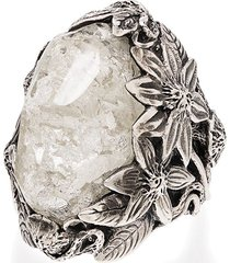 lyly erlandsson winter leaf sterling silver crystal ring