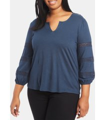 1.state plus size lace-inset top