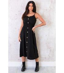 midi jurk knopen santorini zwart