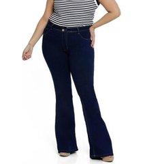 calça jeans plus size biotipo flare feminino