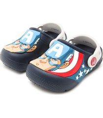 sandália crocs menino captain america clog k azul/branco