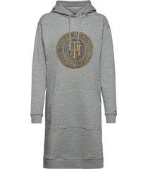 regular th hoodie dress ls kort klänning grå tommy hilfiger