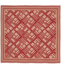 women's etro logo wool, silk & cotton shawl, size one size - red