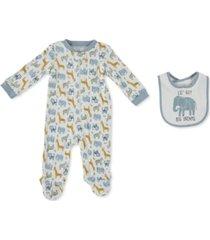 cutie pie baby baby boys printed cotton coverall & bib set