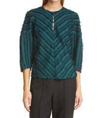 women's rebecca taylor eyelash stripe blouse, size 2 - green