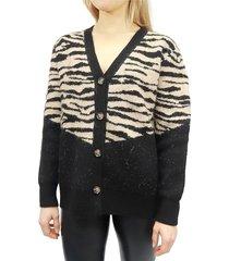 rd style women's animal-print cardigan - black - size m