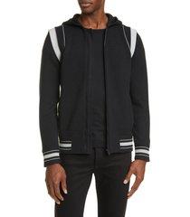 men's givenchy logo hooded knit bomber jacket